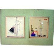 Pair of Vintage Original 1920's Art Deco Fashion Illustrations, Matted