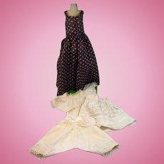 Antique Doll Dress with Original 3 piece Undergarments, 1900's