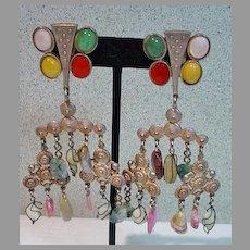 Kate Hines Runway Semi Precious Stone Drop Earrings, 1990's, Clip Ons