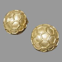 Classic Ciner Gold Tone Ball Clip On Earrings, 1980's