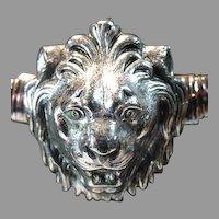 "1960's Accessocraft ""Spring(Stretch) Type"" Silver Tone Lion Head Belt"
