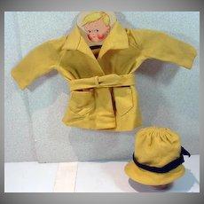 Vintage 1930's Wool Doll Coat, Belt and Hat