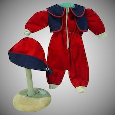 Vintage Doll Ski Suit and Hat, 1950's Zipper Front