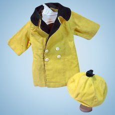 Vintage Doll Yellow Corduroy Coat and Hat, 1950's