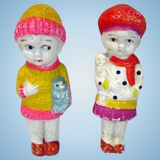 "Pair of 1930's Bisque 4 1/2"" Dolls, Japan"