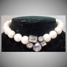 Vintage 1970's Givenchy Faux Pearl Choker with Rhinestone Center