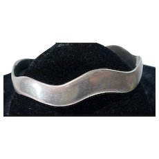 "Mexican Silver ""Wave"" Cuff Bracelet, 1970's"