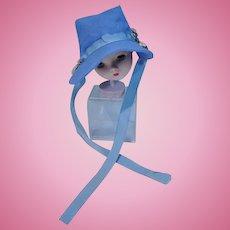 VIntage Blue Cotton Doll Bonnet with Flower Trim