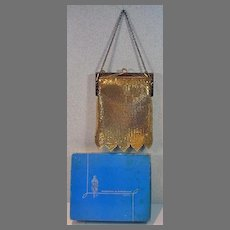 Vintage Whiting and Davis Gold Mesh Evening Bag MIB, 1960's