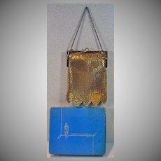 Vintage Whiting and Davis Gold Mesh Evening Bag MIB, 1960's