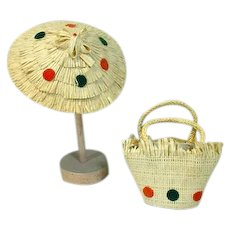 """1950's Beach Hat & Matching Purse for 10"""" Fashion Doll"""