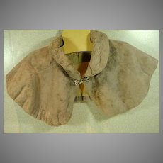 Vintage French 1930's Sheared Beaver Collar with Rhinestone Clasp
