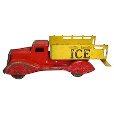 Vintage 1930's Die Cast Metal Ice Truck Toy