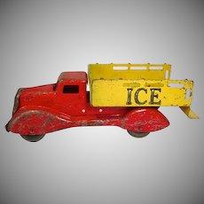 Vintage 1930's Die Cast Metal Ice Truck Toy