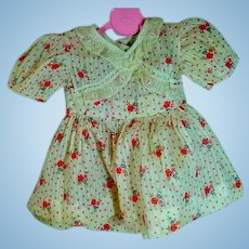 Lovely Floral Cotton Print Doll Dress, 1950's