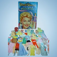 1957 Whitman Doris Day Paper Doll with Folder and Clothes