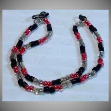 Rare Mattel Barbie Red/Black Necklace from Day 'n Night Outfit, 1965