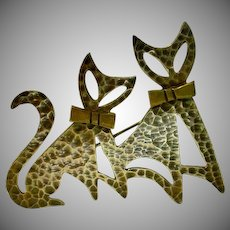 Vintage 1950's Stylized Cat Pin, Mexican Silver