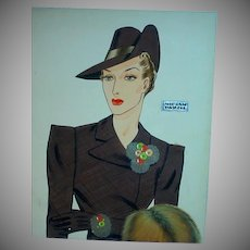 Rare Original Fashion Illustration for Miriam Haskell Jewelry, 1930's