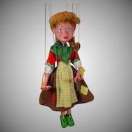 VIntage 1950's Pelham Puppet Marionette, Gretel