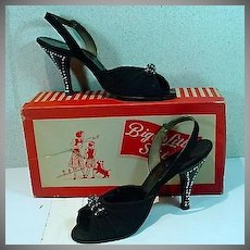 Vintage Ladies, Peep Toe Sling Back High Heels, 1950's w/Box