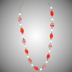 Moschino Red and White Glass Bead Summer Necklace