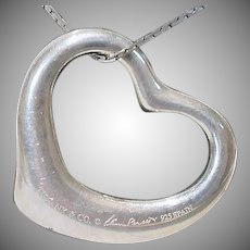 Tiffany & Co. Elsa Peretti Sterling Silver Open Heart Pendant, 27mm