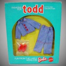NRFB Mattel Todd Outfit, Jean Suit, European Market,1974