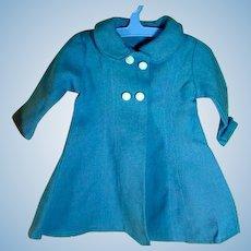 Vintage Blue Linen Doll's Coat, 1950's