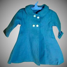 Vintage Blue Linen Doll's Coat, 1950's