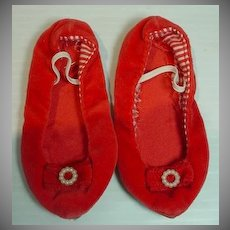 Original Mattel Chatty Cathy Red Velvet Shoes, 1960