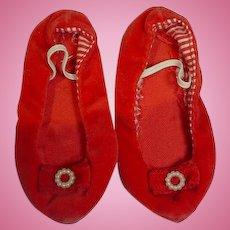 Original Mattel Chatty Cathy Red Velvet Shoes, 1960