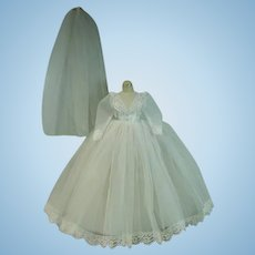 Madame Alexander Elise Wedding Gown, Slip and Veil, 1960's