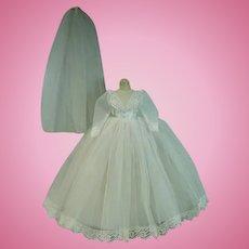 Madame Alexander Elise Wedding Gown, Slip and Veil, 1960's