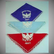 Ladies Vintage United States Army Handkerchiefs, 1940's