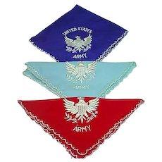 Ladies Vintage United States Army Handkerchiefs, 1940's