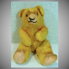 Vintage Straw Stuffed, Jointed 5 Inch Teddy Bear
