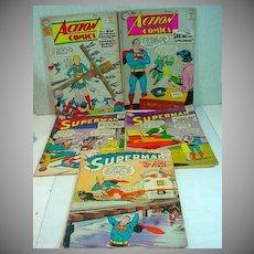 Five Vintage Superman DC Comic Books, 1958-1961