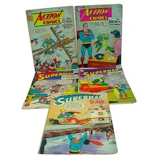 Five Vintage Superman DC Comic Books, 1958-1961