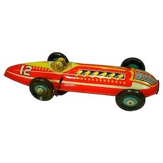 VIntage Marx Tin Litho Wind-Up Racing Car with 2 Drivers, 1940's