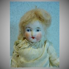 Antique  5 Inch German Bisque Jointed Doll, 1800's