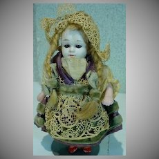 Antique 5 Inch Jointed Bisque Doll with Glass Eyes, Germany, 1880's