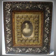 Ornate Victorian Wooded Carved Frame with Childs Photograph!