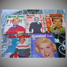 Collection of Vintage Movie Magazines, Doris Day Covers 1950's