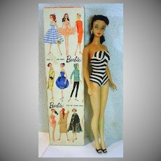 Amazing Brunette #3 Barbie Ponytail, Brown Eyeliner, Orange Lips, 1960, Mattel