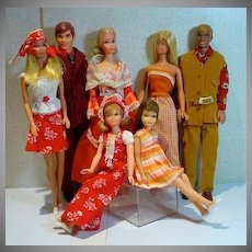 Vintage Mattel Barbie and Friends, 1970's Lot, 7 Dolls Dressed!