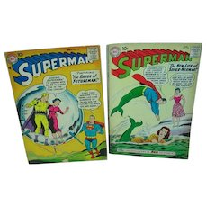 Two Vintage Superman DC Comics, 1958 & 1960