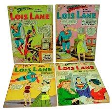 4 Vintage Superman's Girl Friend, Lois Lane DC Comics, 1959-1961