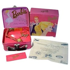 1994 Barbie Ltd. Fossel Pretty and Pink Watch, in Original Tin Lunchbox w/Accessories