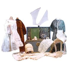 Vintage  Trunk Filled Antique Fashion Doll Clothing & Accessories!
